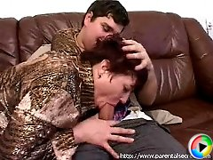 Cock-hungry mommy polishing young guy's dick with her mouth